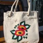 Painted Tote Bag With Bright Flower..