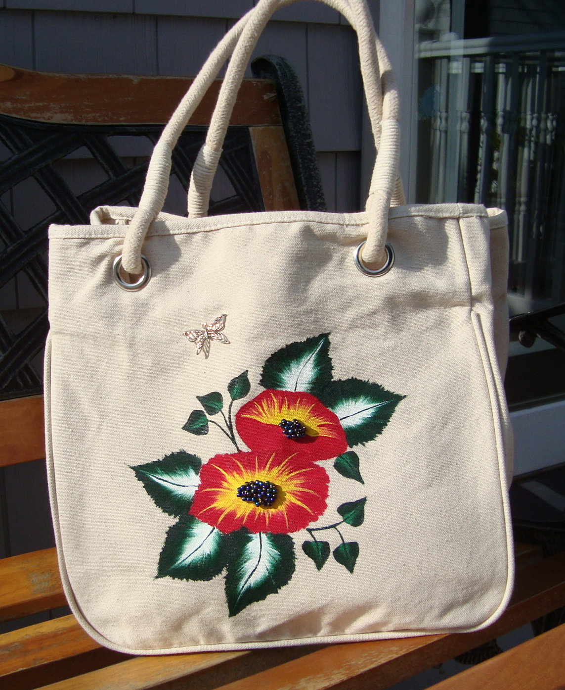 Painted Tote Bag With Bright Flowers