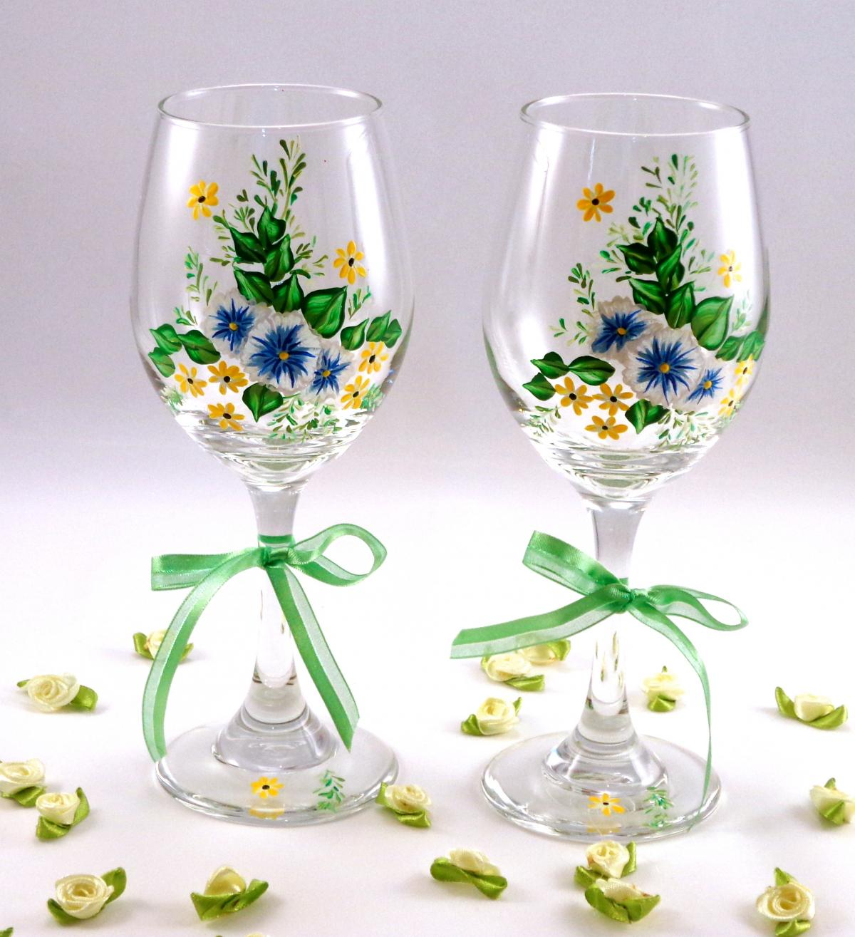 Painted wine glasses with flowers on luulla Images of painted wine glasses