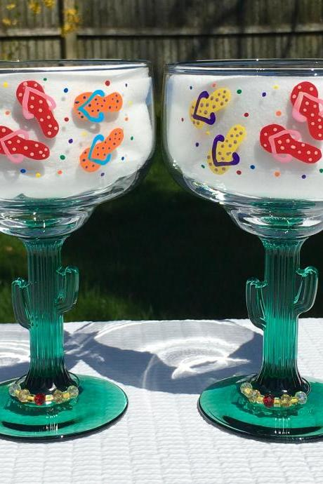 Margarita Glasses With Hand Painted Flip Flops Set of 2