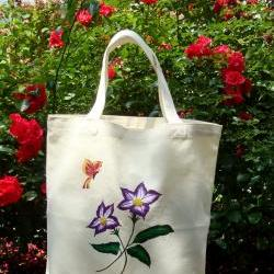 Tote Bag With Violet Flowers and a Red and Yellow Butterfly