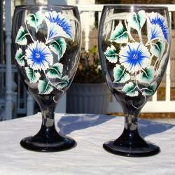 Painted Smoke Wine Glasses With Flowers and Vines